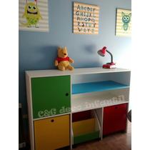 Mueble Infantil Organizador Con Cubos Con Ruedas Baul Repisa