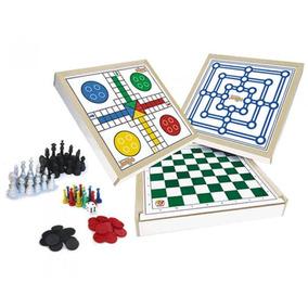 Conjunto 4x1 Jogos Tabuleiro Xadrez Damas Trilha Ludo 718