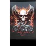 Lamina Poster 3d Moto Chopera Aguila Alas De Fuego 30x40cm