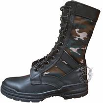 Botas Militares Con Lona Camuflaje Lateral Y Zipper Talla 5