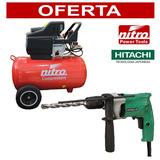 Compresor 50lt - 2hp Nitro + Taladro Percutor Hitachi 13mm