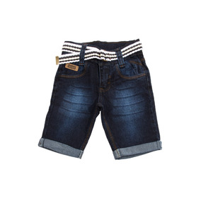 Bermuda Jeans Escura Bebê Meninos Masculino +cinto Tam 1/2/3