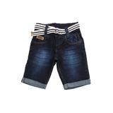 Bermuda Jeans Escura Bebê Meninos Masculino + Cinto Tm 1/2/3