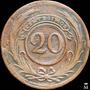 Mg* Uruguay Moneda 20 Centésimos 1854 Variante Difícil 9.2.1