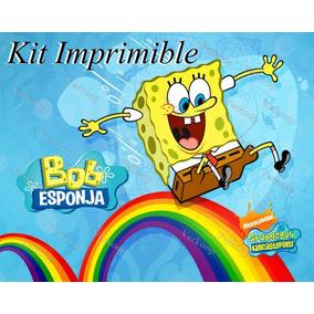 Kit Imprimible Bob Esponja Invitaciones Tarjetas Fiesta