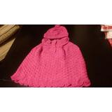Poncho Con Gorro De Lana Tejido A Crochet,hecho A Mano
