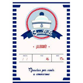 Tarjeta Souvenir Nacimiento Baby Shower Diseño Bebe Barquito