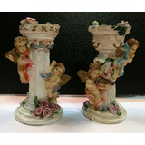 Antigua Figura De Angeles Musicos En Columnas En Porcelana