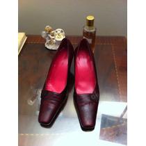 Zapatos Cuero Burdeos Pollini N°38.