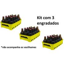 Kit 3 Engradados Caixa Grade 15 Vasilhames Cerveja Amarela