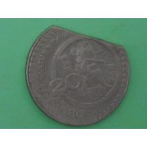 Super Ganga,moneda Incompleta De $ 20 Error De Acuñación
