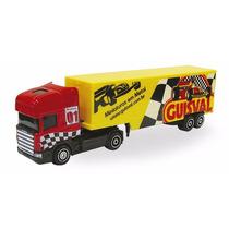 Miniatura Caminhão Guisval Scania, Carreta Bau Die Cast