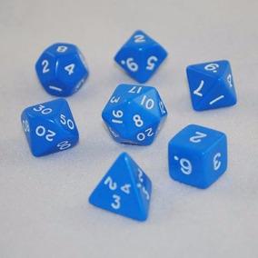 Dados De Rpg Azul 7 Peças D4 D6 D8 D10 D12 D20 D100.