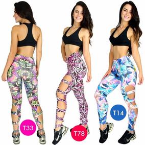 Kit 2 Calça Legging Estampada Rasgada Suplex Fitness
