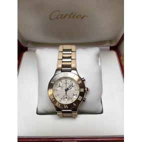 Cartier 21 Chronoscaph De Caucho Blanco