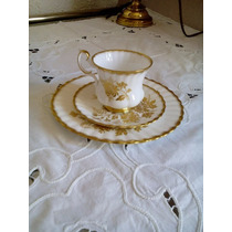 Trio Te/caf Porcelana Royal Albert, Bone China, Golden Glory