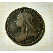 Gran Bretaña, Inglaterra. Moneda 1 Penny Año 1900, Cobre.