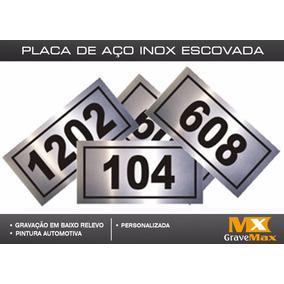 Placa Número Porta De Apartamento - Inox Escovado