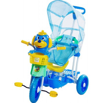 Triciclo Infantil C/capota 3x1 - Música/luzes - Azul