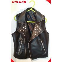 Campera Chaleco Rocker Nene/a Ecocuero Con Tachas T 4 6 8