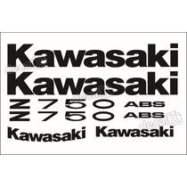 Kit Jogo Faixa Emblema Adesivo Kawasaki Z750 2012 Preta