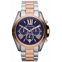 Relógio Michael Kors Mk5606 Azul E Rose - Pronta Entrega