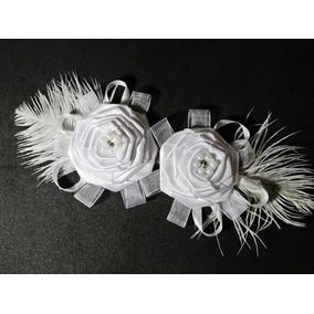 Arranjo Noiva P/ Cabelo Délicat Duas Flores Cetim - Headband