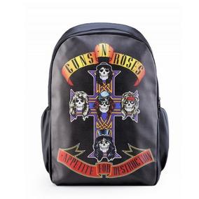 Mochila Guns N Roses Couro Sintético Pu Notebook Escolar