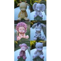 Animales De La Selva Adornos Para Tortas En Porcelana Fría