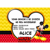 Convites Personalizado Mickey 25 Unidades 3 Opções De Modelo