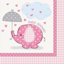 Elefante Rosa Girl Baby Shower Servilletas, 16ct