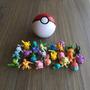 Novo!! 1 Pokebola(botão Real)+1pikachu+9 Pokémons Aleatórios
