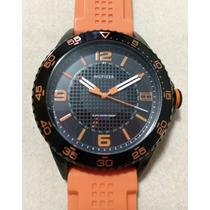 Relógio Tommy Hilfiger Preto E Laranja - Importado Eua