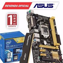 Kit Asus H81m-c/br + Intel Core I3 4170 + 4gb Ddr3 Hyperx