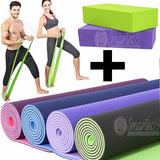Kit Fitness Mat Yoga Colchoneta + Ladrillo + Banda Elastica