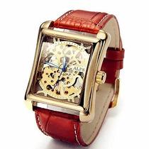 Alps Hombres Clásicos Esqueleto Mano Viento Oro Reloj Automá