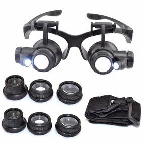 Óculos Lupa Ampliação P  Joalheiros Leds Zoom 10x 15x 20x 25 b0210a1d06