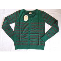 Blusa Cardigan Hering Feminina Listrada Verde