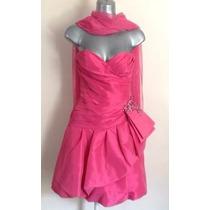 Vestido Xv Años Strapless Rosa Fiusha Importado Talla 4 O Xs
