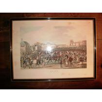 Cuadro Importante Grabado Litografía Coloreada 1826 Caballos