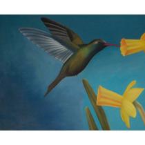 Óleo Auténtico: Colibrí Y Flores Amarillas Cuadro Al Óleo