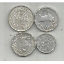 Uruguay Lote De 4 Monedas De 1,5 Y 50 Centesimos