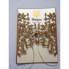 Envelope Para Convite - Floral 2 Corte A Laser Kraft