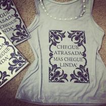 T-shirt Blusa Baby Look Bordada Tees Moda Camisa Regata
