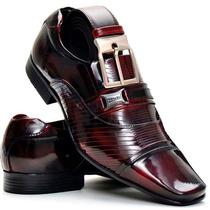 Sapato Social Masculino Kit Presente Couro Verniz Brilhoso