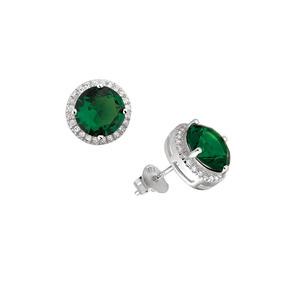 Brinco De Prata Com Pedra Verde