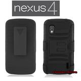 Lg Nexus 4 Funda Con Clip Para Cinturon 3 Capas Otter