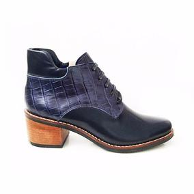 Botin Bota Madison Croco Azul Zapatos De Diseño The Mood