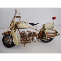 Miniatura,réplica, Antiga Moto Custom Anos 50 Retrô Em Metal