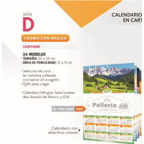 Calendario Cartulina Len 24 X 34 Varilla Exfoliador